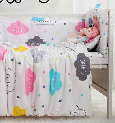 7 StÜcke Cartoon Baby Bettwäsche Set Für Kinderbett Baumwolle Bettwäsche Set Babybett Bettwäsche Baby Quilt Für Krippe Bett, (4 Stoßfänger + Blatt + Kissen + Duvet) Die Neueste Mode