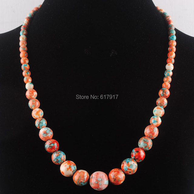 Free shipping 6~14mm Sea Jaspers Gem stone Graduated Round Beads Necklace 17.5″ Length Lobster clasp Xmas gift Jewelry TF3067