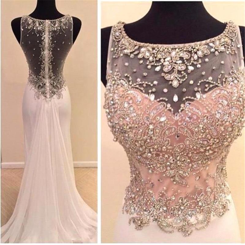 See Though 2019 Vestido de festa longo Elegant Luxuries Mermaid Gown Beaded Crystal Pink Chiffon long   evening     dress