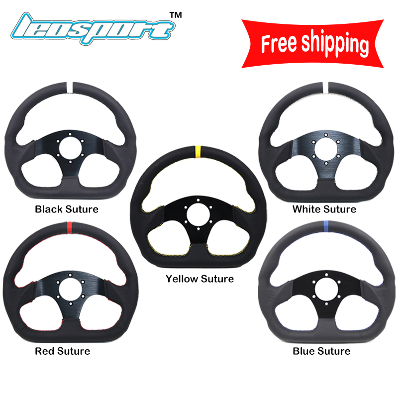 Free shipping 13(330mm) For Racing Steering Wheel Leather Steering Wheel Flat Racing game Steering Wheel With horn button free shipping rc boat steering wheel double water inlet aluminium alloy steering wheel rudder 160mm 502b52 a