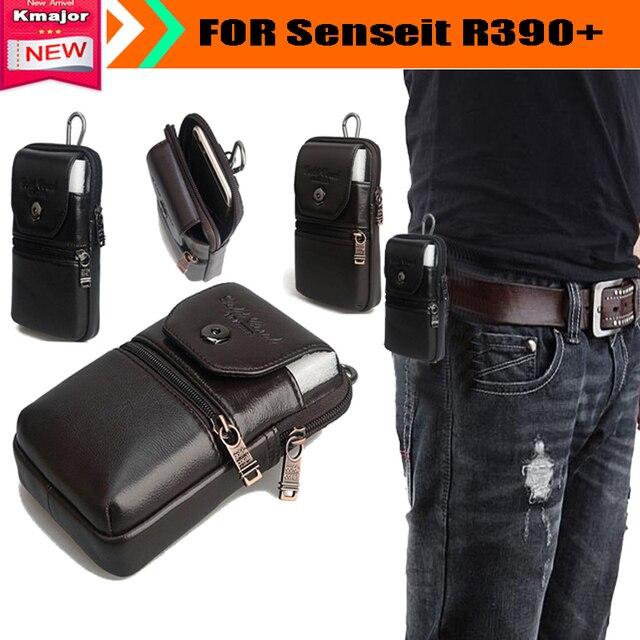 Genuine correia de transporte de couro clipe bolsa de cintura bolsa Case capa para Senseit R390 + à prova d ' água SmartPhone transporte da gota livre