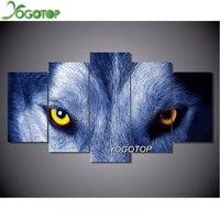 YOGOTOP DIY 5D Diamond Painting Cross Stitch Square Diamonds Embroidery 5D Diamond Mosaic Home Decor Wolf