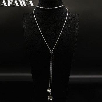 ac265ba2fb1d Collares largos de acero inoxidable con flores de moda 2019 collares y  colgantes de Color plateado para mujer accesorios de joyería N186703