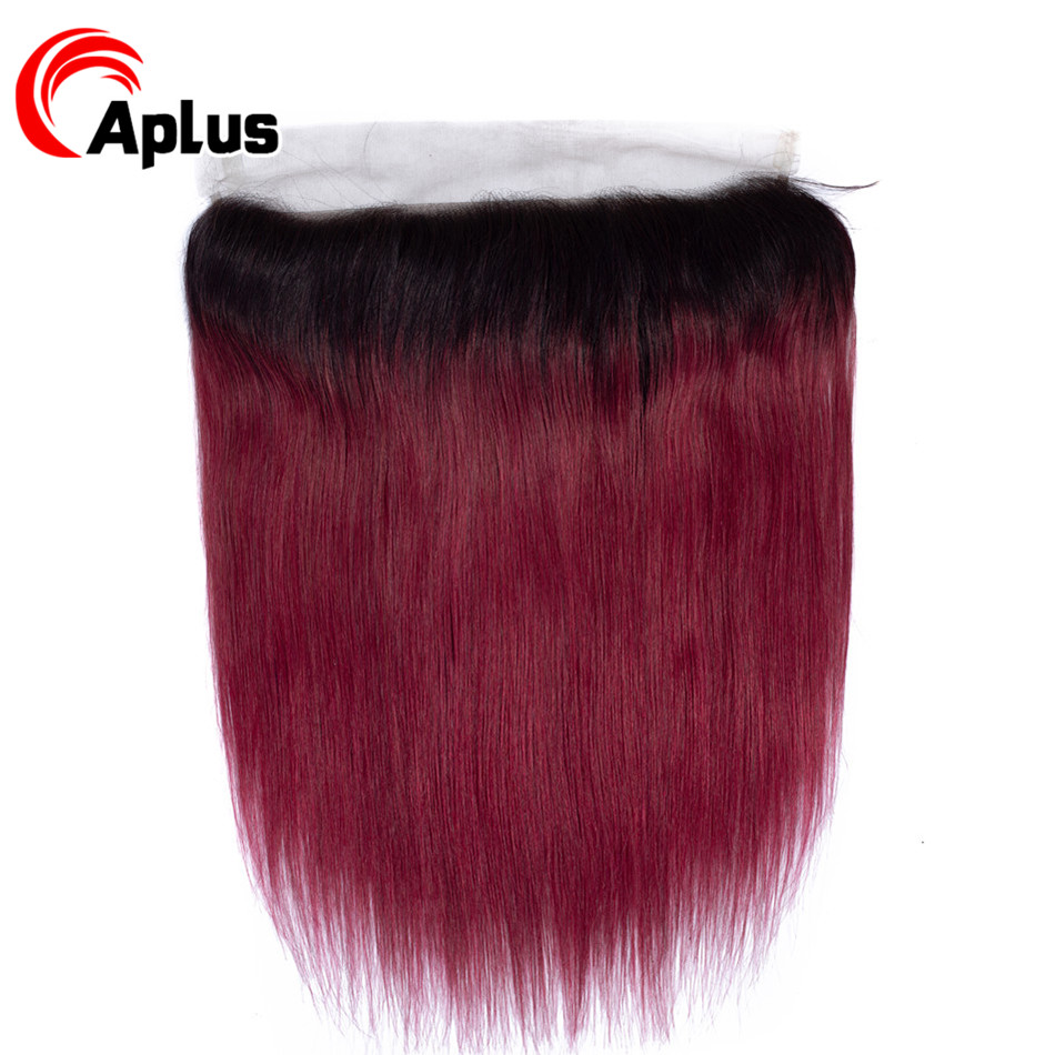 Aplus Ombre 13x4 Ear To Ear Lace Frontal Closure Pre Plucked 1b/Burg Two Tone Red Remy Human Hair Malaysian Straight Frontal