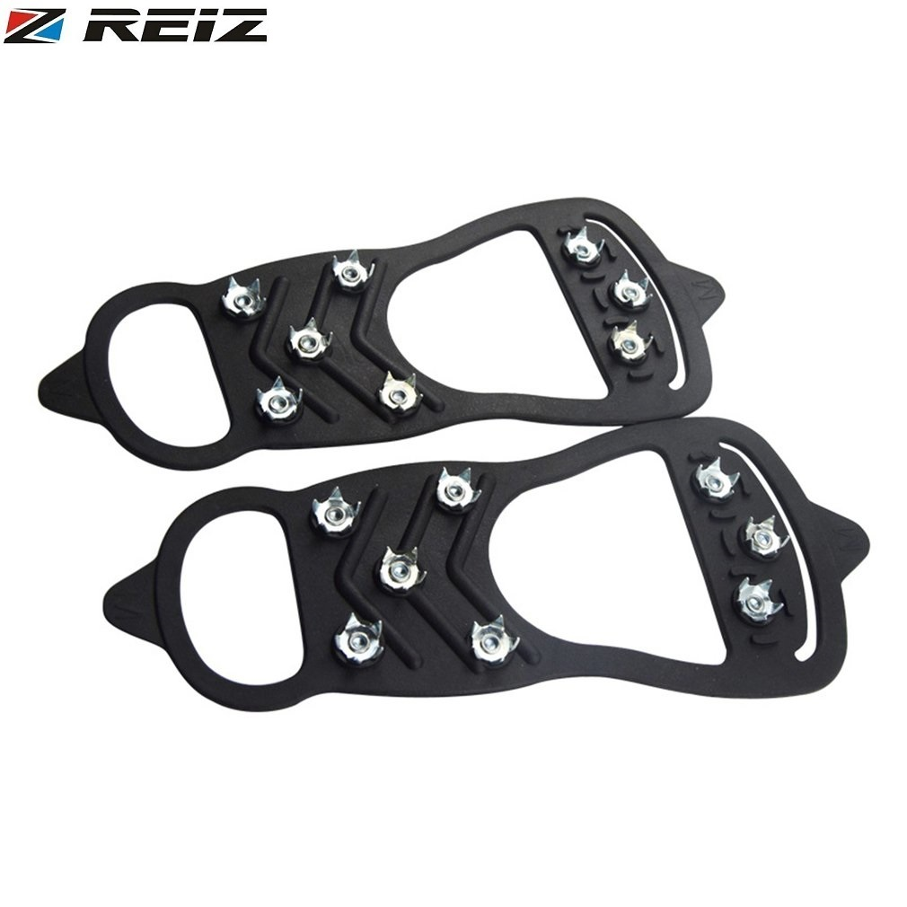 REIZ Snow Shoe Spikes Grips Cleats Outdoor camping Ice Multi Crampon Tool Anti-slip Shoes Cover For Winter Climbing Camping