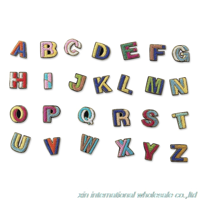 Creative combination of color letters badge metal wire embroidery ...