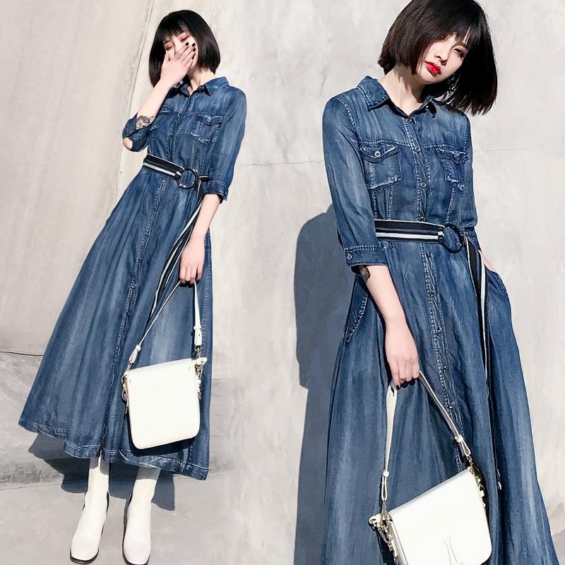 Revers Tencel Femme Chemise Swing Piste Nouveau Mince Dr Printemps  Fourchette Couture Robe Jeans 2018 Tempérament ... 4a88fcb74708