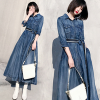 2018 runway spring new denim stripe stitching dress female long maxi Tencel lapel thin temperament shirt jeans big swing fork dr