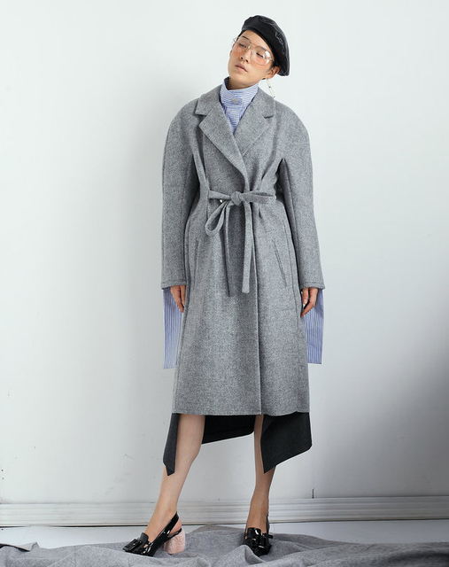 GETSRING Women Woolen Coat Long Grey Wool Coat Three dimensional ...
