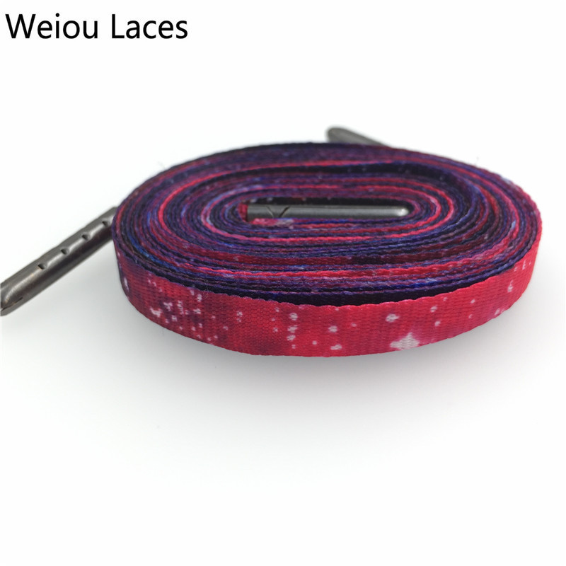 Weiou Lovely Fashion Prints Boys Girls Flat Galaxy Shoelace Printing Shoelaces Sublimated Shoe Lace Polyester Strings 45