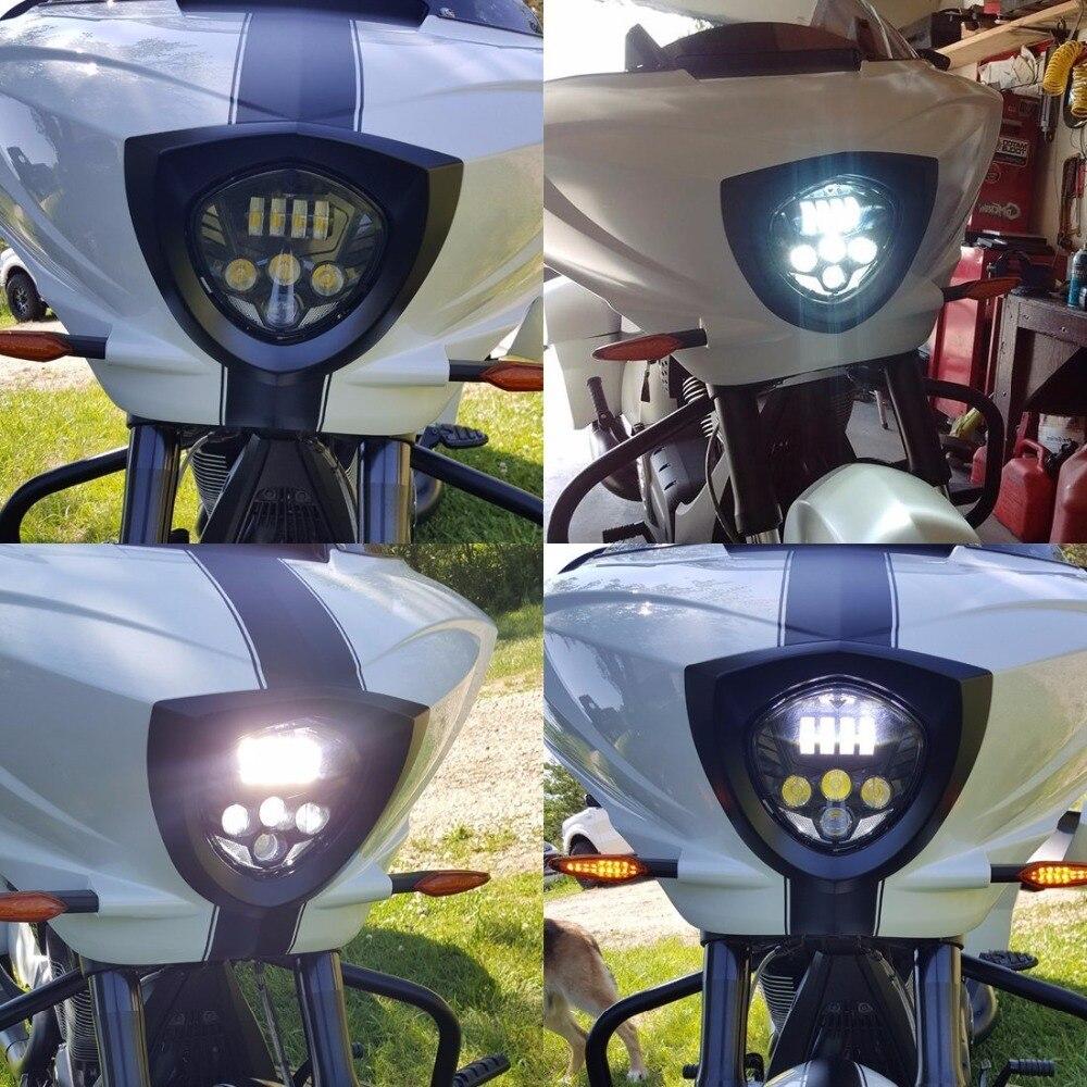 Led motorcycle headlight waterproof high low beam motorbike head lamp light for victory 2007-2016 cru