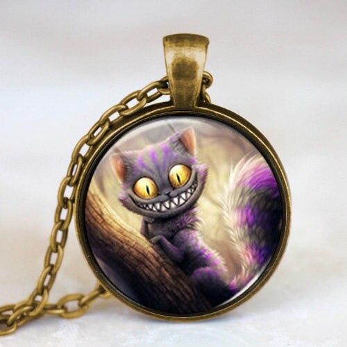 New Movie Alice in Wonderland Cat Fairytale Pendant Steampunk Necklace doctor who 1pcs/lot women mens vintage chain antique 2017