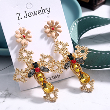 Shiny New Fashion Metal Flower Earrings Jewelry Dangle For Women Drop Cross Structure Gift Accessories