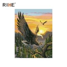 цена на RIHE Sunset Eagle Diy Painting By Numbers Animal Oil Painting On Canvas Hand Painted Cuadros Decoracion Acrylic Paint Home Decor