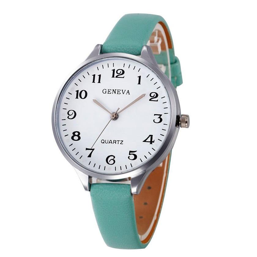 2017 Relogio Feminino erkek kol saati Women Casual Checkers Faux Leather Quartz Analog Wrist Watch#June2