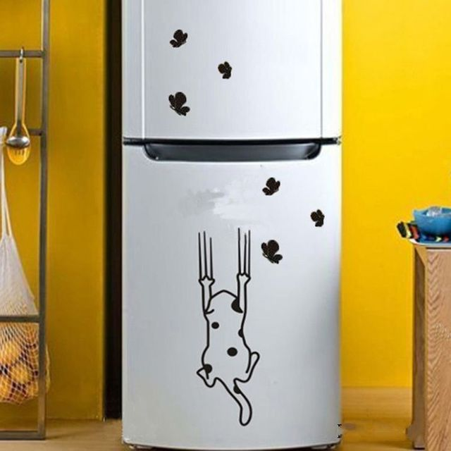 lovely cat pattern home decal furniture glass stickers refrigerator