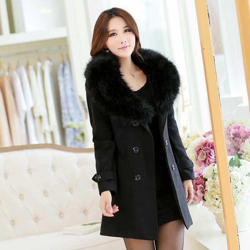 In die winter von 2018 neue mode frauen wolle mantel zweireiher mantel elegante bodycon kokon wolle warme lange mantel tops 3L27