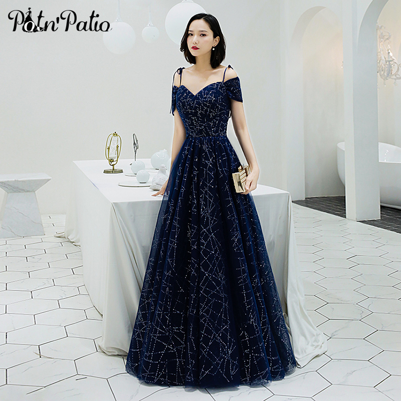 Sweetheart Off The Shoulder Shiny Sequined Navy Blue Prom Dresses Long 2019 New A-line Floor-Length Plus Size Prom Gowns