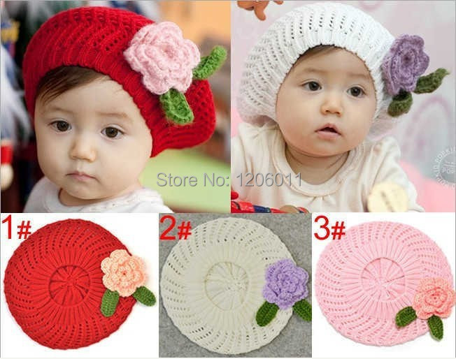 try order Cute Handmade Crochet Hat girls Berets With Flower,kids Wool Knitted Hats,Kids Beanie Cap,Chidren Winter Hats 5ps/lot