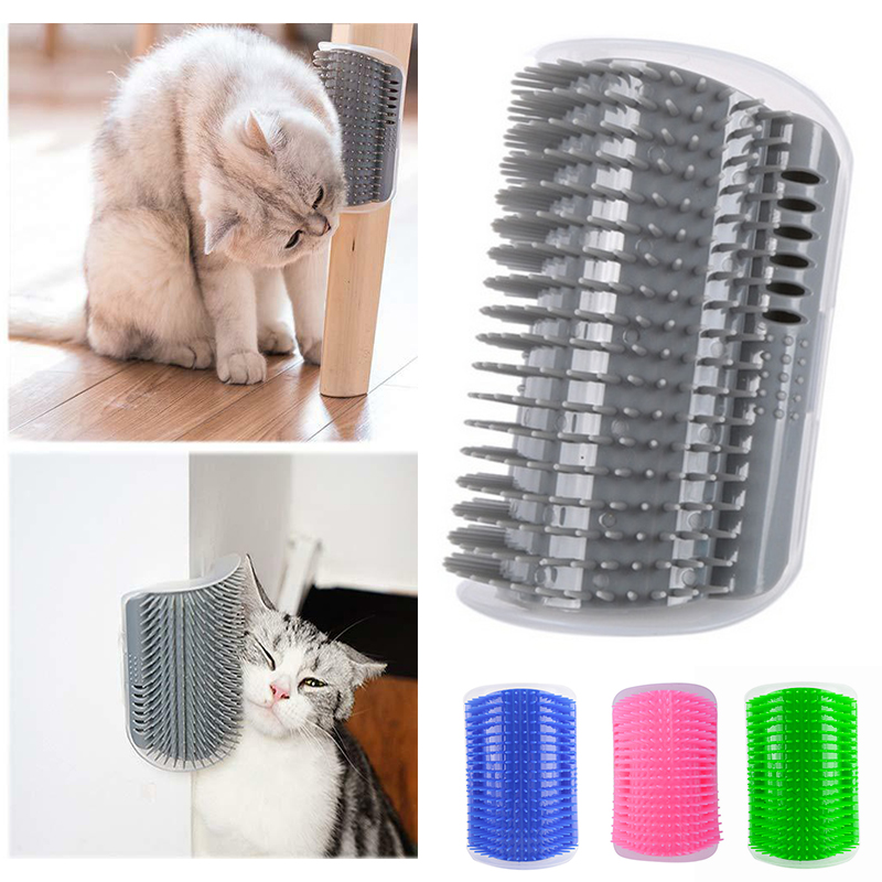 Corner Pet Brush Comb Removable Cat Scratching Rubbing Hair Massage Self Grooming Dog Scratcher