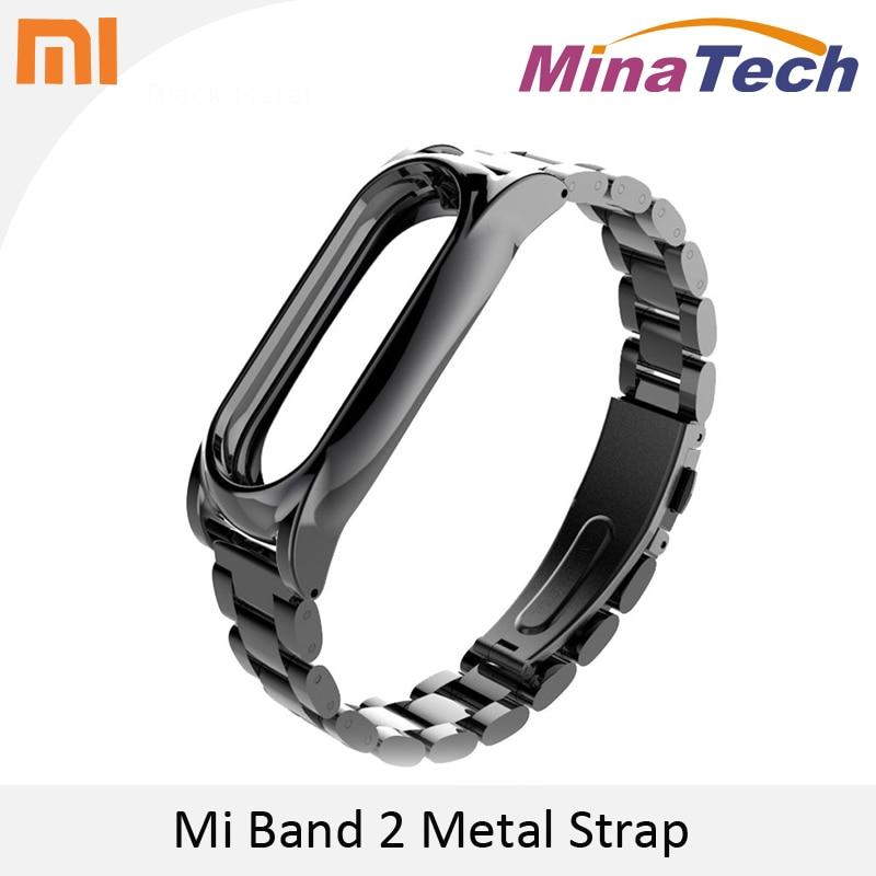 imágenes para Sin tornillos de Metal Correa Para La Muñeca Para Original Xiaomi Mi banda 2 Pantalla OLED Inteligente Pulsera Pulseras de Plata Negro