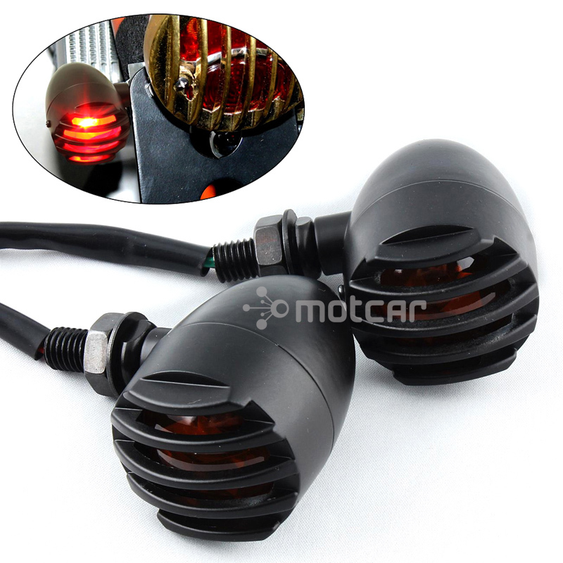 Bullet Style 10mm Metal Turn Signals Amber Lights Indicators Grill Mask Black Housing Motorcycle Blinker Lamp Universal Fit - title=