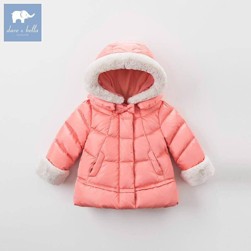 Фото DB6321 dave bella winter baby girls down jacket children 90% white duck down padding coat kids hooded outerwear