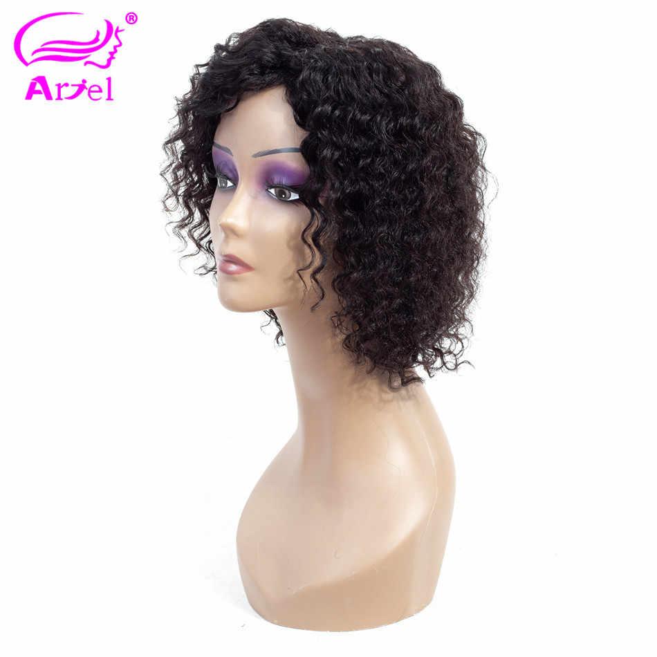 Ариэль перуанские # 1B глубокая волна человеческих волос парики не Реми 100% человеческих волос парик H. Jamy волосы парики для черных женщин 8 дюймов 130 Плотность