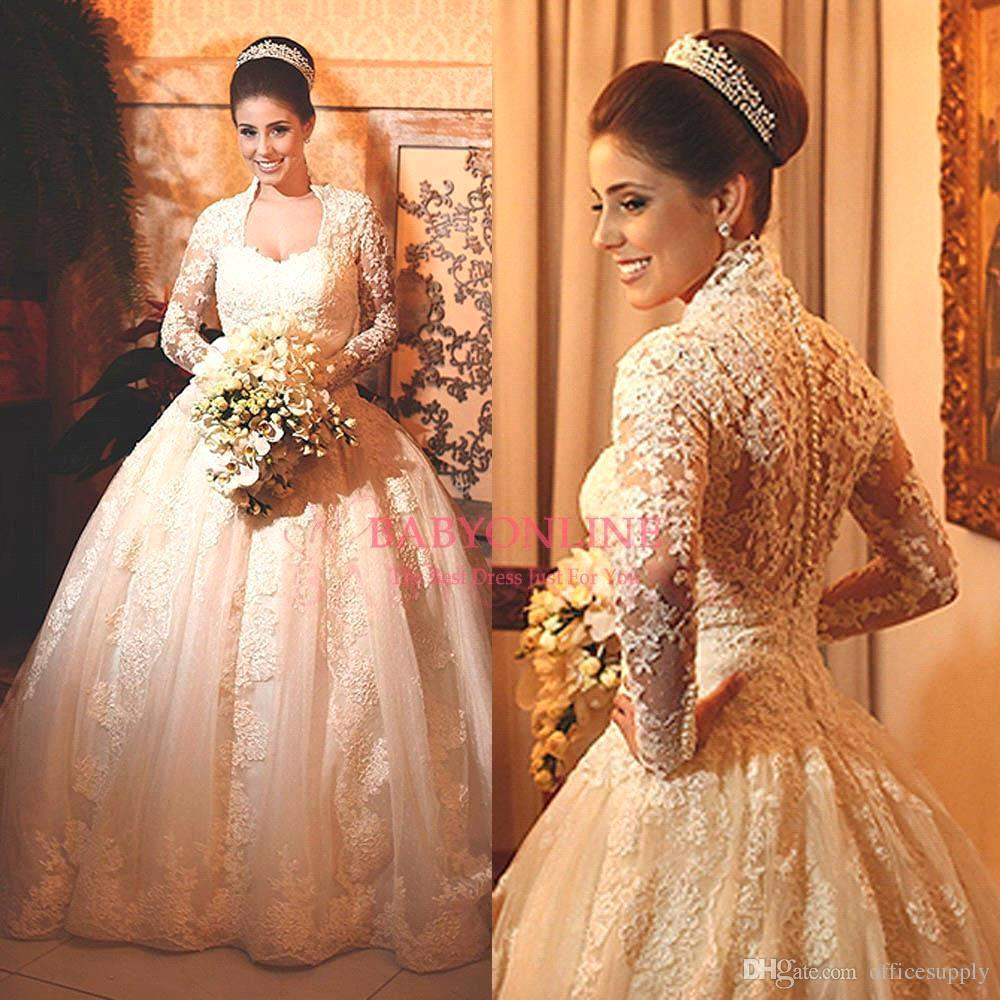 Lace Satin Wedding Dresses For Women 2017 Winter Sheer
