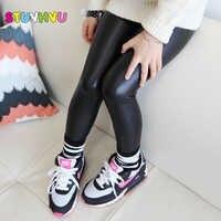 Children baby black leather pants for girls kids leggings spring new Korean slim leggings for 2 3 4 5 6 7 8 9 10 11 12 years old