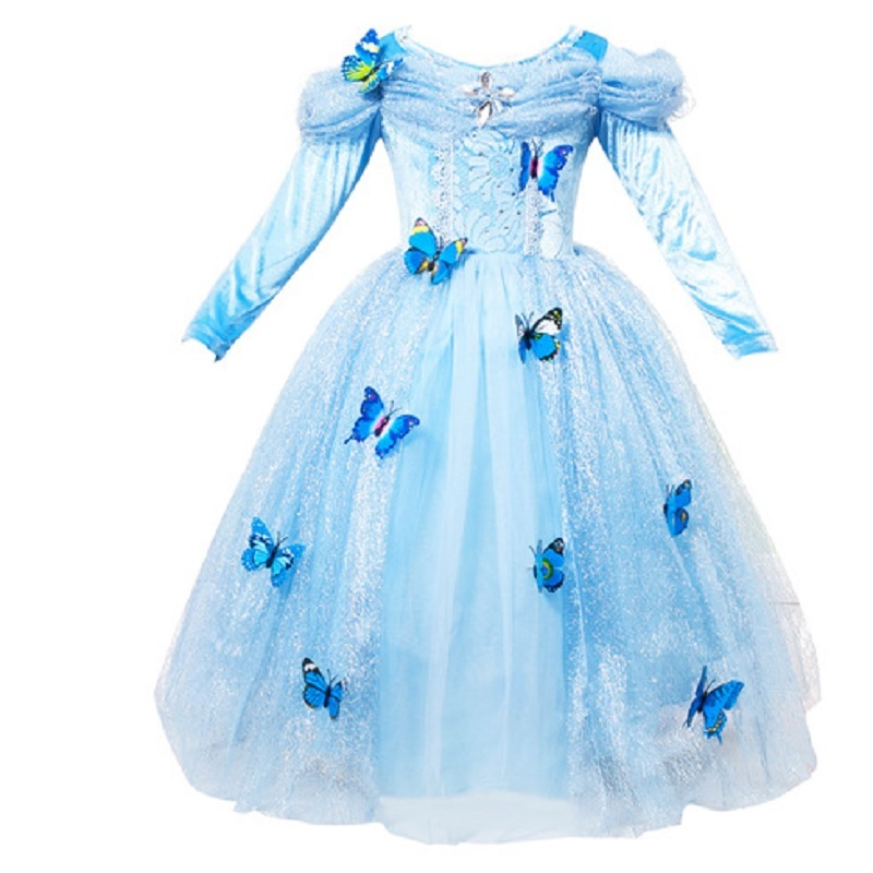 baby kids kid children child  cosplay costume princess cinderella dress girls costume blue flower girl dress party butterfly