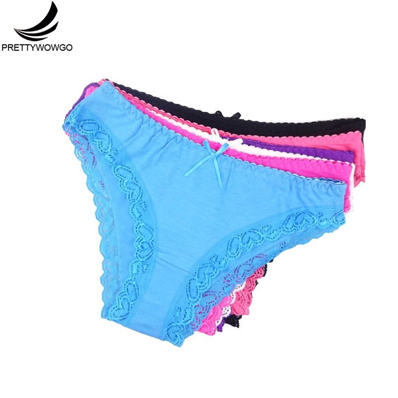Prettywowgo 5 pcs/lot women underwear 2019 Hot Sale Good Quality Solid Color Cotton Lace Briefs   Panties   6257