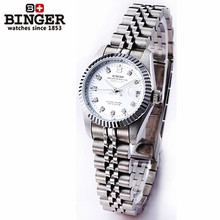High Quality Ladies Binger Automatic Mechanical Skeleton Watches Womens Full Steel Dress White Gold Silver Dial