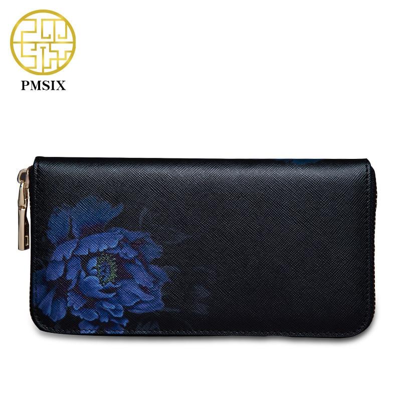 Pmsix 2019 új virág nyomtatás Kínai szélmarha Split bőr - Pénztárcák