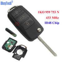 OkeyTech 3 Bottoni 433MHz Auto Telecomando Completato di Vibrazione Key Fob Lama In Bianco Con ID48 Chip Per V W /SKODA SEDE 1KO 959 753 N
