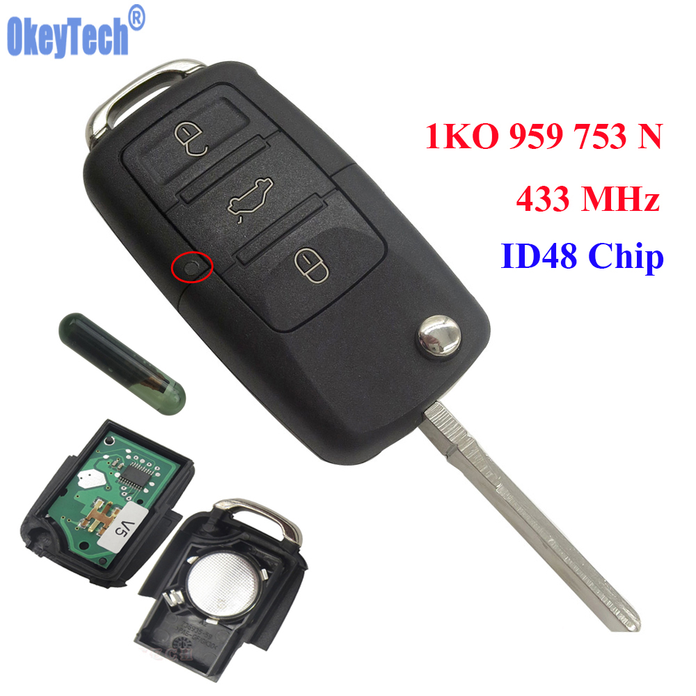 OkeyTech 3 Buttons 433MHz Car Remote Control Completed Flip Key Fob Blank Blade With ID48 Chip For VW /SKODA SEAT 1KO 959 753 N