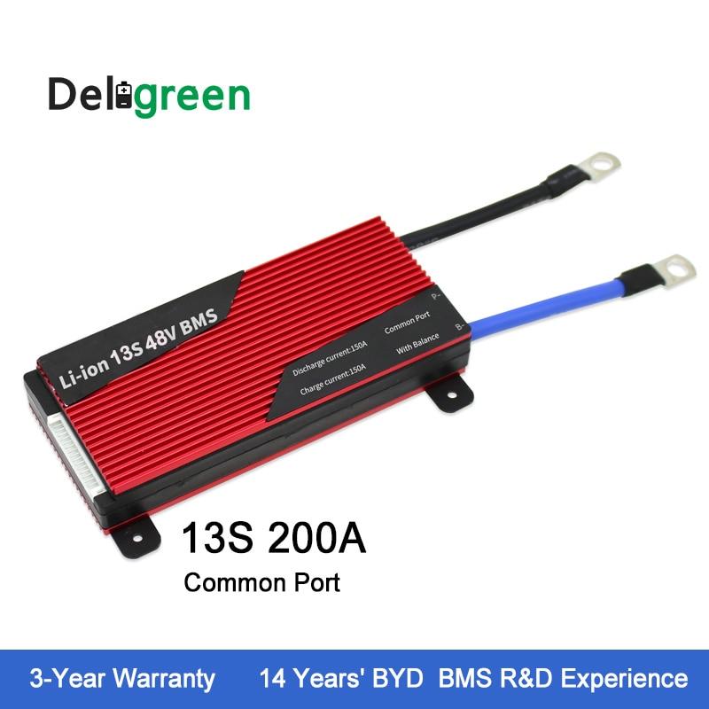 Deligreen 13S 200A 48V PCM PCB BMS for Li PO LiNCM battery pack 18650 Lithion Ion