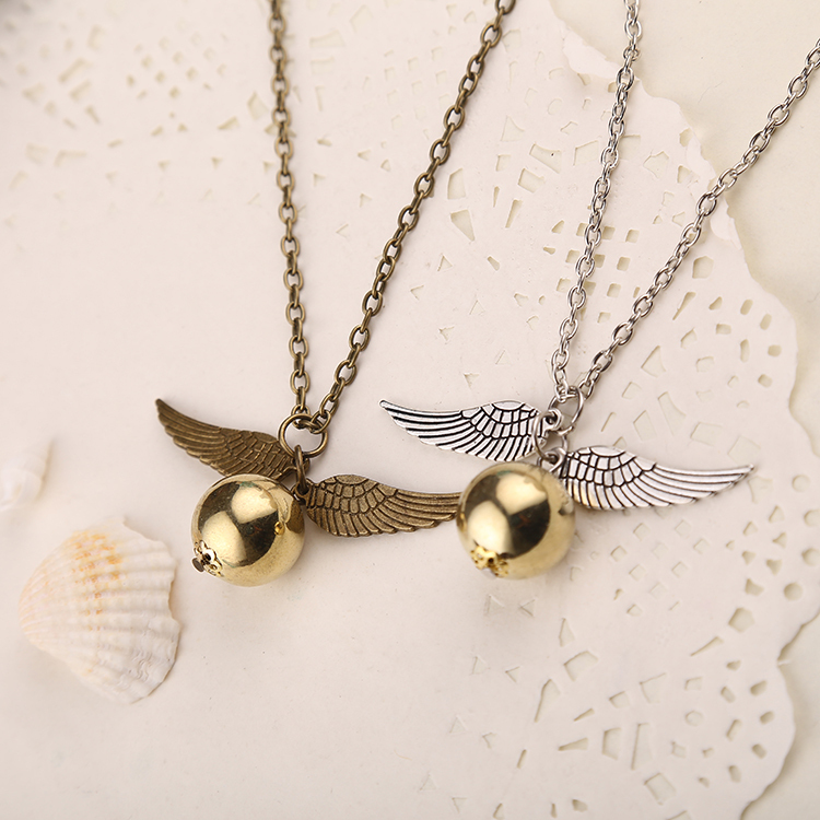 Golden Snitch Necklace Quidditch Fly Ball Antique Bronze Silver Wing Pendant Steampunk Vintage Movie Jewelry Men Women Wholesale image