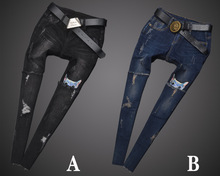 2016 осень новый Европейский и Американский женский личность отверстие джинсы вышитые свободные большие ярдов женские модные брюки коллапс