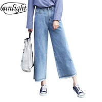 2018 New Women Summer Casual Ankle Length Elastic Band Pants Plus Large Size Wide Leg Cropped pants Polyester Hair edge Korean