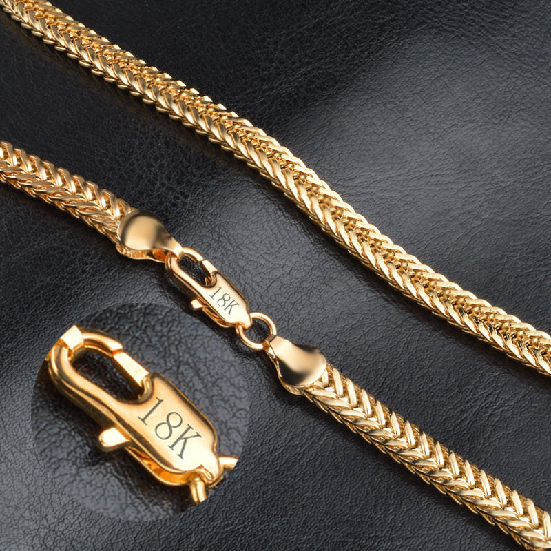 "Men Necklace 6MM 50CM 22"" Foxtail Franco Chains Trendy Gold Color Necklaces For Men Jewelry"