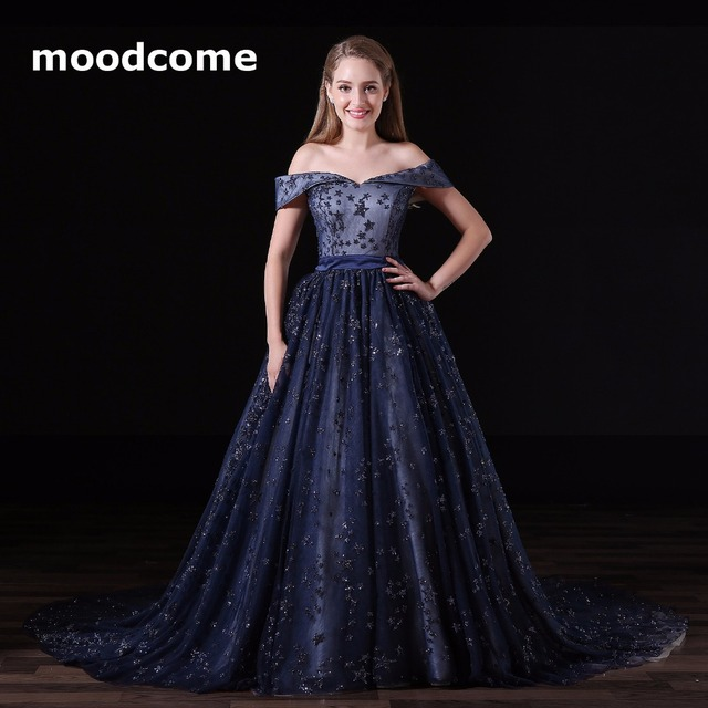 2018 Illuison Prom Dresses Cheap Ball Gown Lace Off The Shoulder