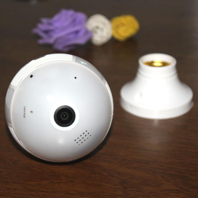 1080 P lampe ampoule sans fil 360 caméra panoramique lumière blanche infrarouge vision nocturne E27 interface Standard internationale