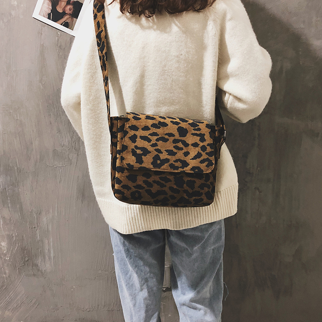 2020 leopard print Vintage Women small crossbody Bag corduroy Day High Quality mini bags Women Shoulder Bag Handbag Female 1