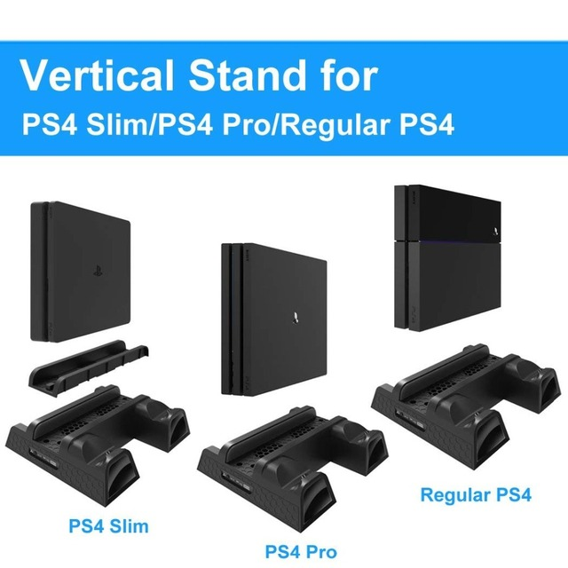 PS4/PS4 Slim/PS4 Pro Dual Controller Charger Console Vertical Cooling Stand Charging Station Dock card Storage For Playstation 4 5
