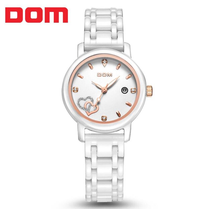2016 Brand new Dom T-580 clock reloj ceramics waterproof quartz watches women calendar wristwatch women watch relogio feminino