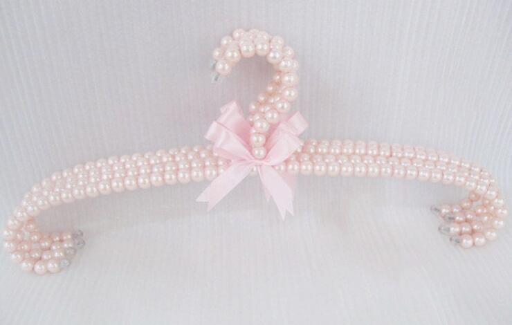 10pcs 41cm pink plastic pearl bowknot hangers home accessories