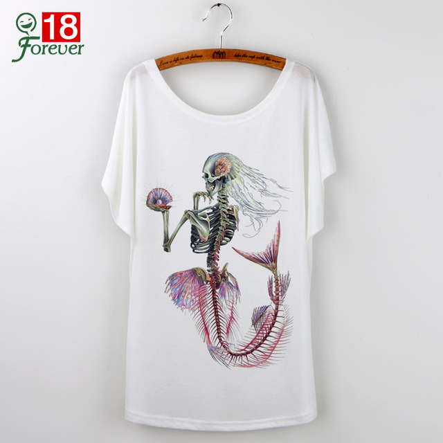 Cartoon Mermaid Print 2017 Casual Summer White T-Shirt Women Tops Camisetas Mujer T Shirt Harajuku Short Sleeve Tees Shirt Femme