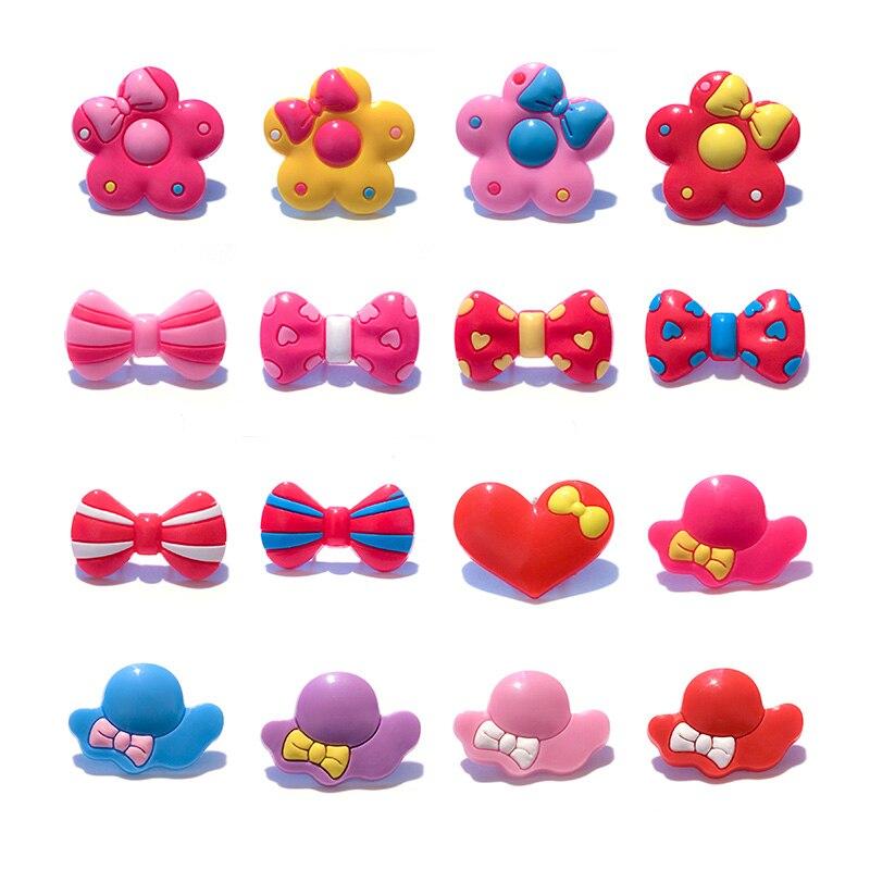 1pc Hat Bowknot Flowers PVC Shoe Charms,Shoe Buckles Accessories Fit Bands Bracelets Croc JIBZ,Kids Party X-mas Gifts