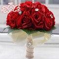 2016 Искусственные Красные Свадебные Букеты Для Невест Невесты Белый Розовый Рука Розы Цветы Кристалл Невесты букет де mariage
